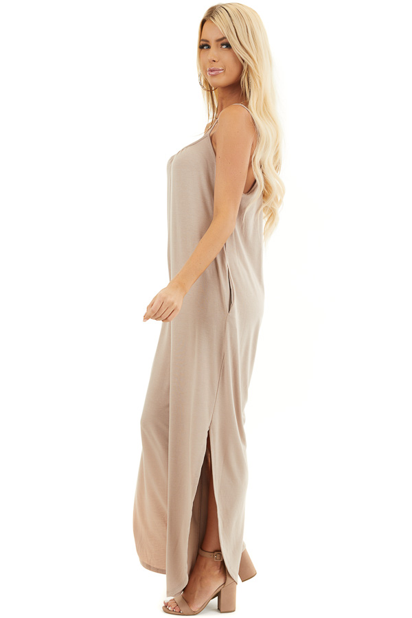 Latte Sleeveless Knit Jumpsuit with Side Slit and Pockets side full body