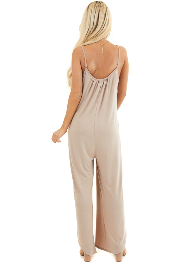 Latte Sleeveless Knit Jumpsuit with Side Slit and Pockets back full body