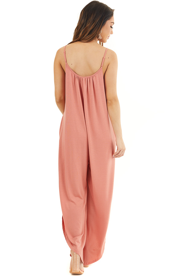 Coral Sleeveless Knit Jumpsuit with Side Slit and Pockets back full body