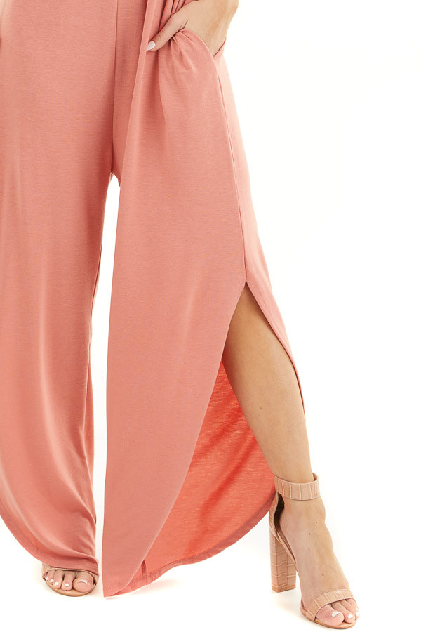 Coral Sleeveless Knit Jumpsuit with Side Slit and Pockets detail