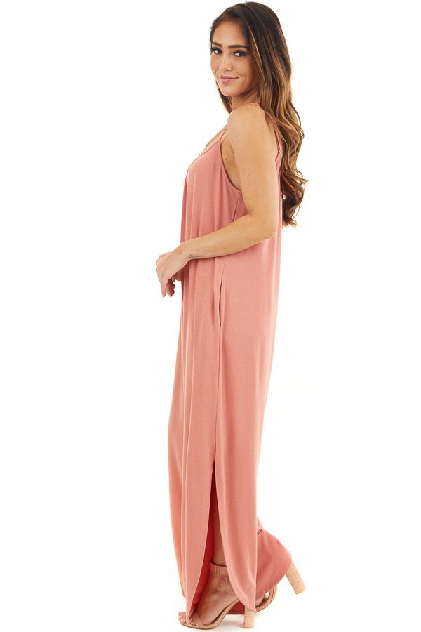 Coral Sleeveless Knit Jumpsuit with Side Slit and Pockets side full body