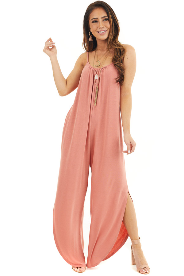 Coral Sleeveless Knit Jumpsuit with Side Slit and Pockets front full body