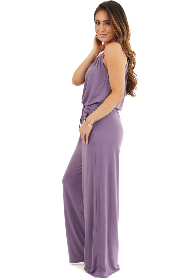 Lavender Sleeveless Knit Jumpsuit with Side Pockets side full body