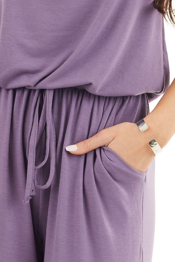 Lavender Sleeveless Knit Jumpsuit with Side Pockets detail