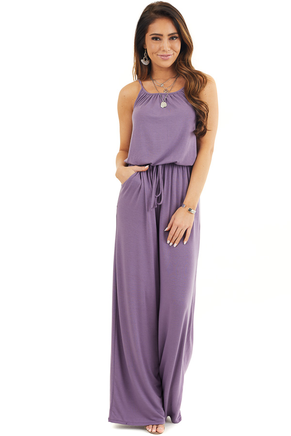 Lavender Sleeveless Knit Jumpsuit with Side Pockets front full body
