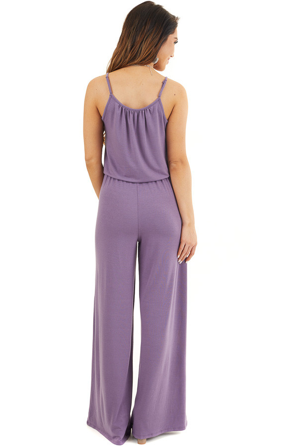 Lavender Sleeveless Knit Jumpsuit with Side Pockets back full body