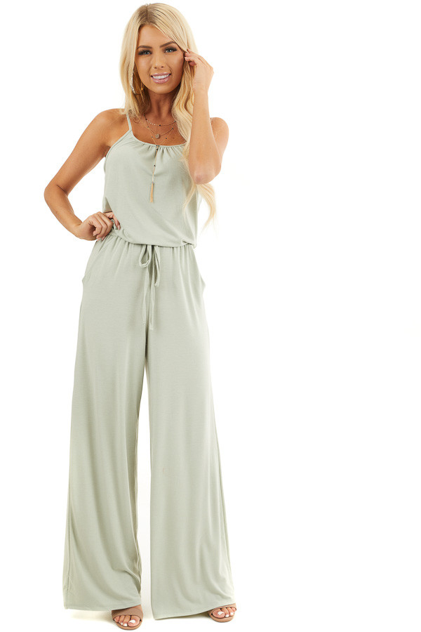 Light Sage Sleeveless Knit Jumpsuit with Side Pockets front full body