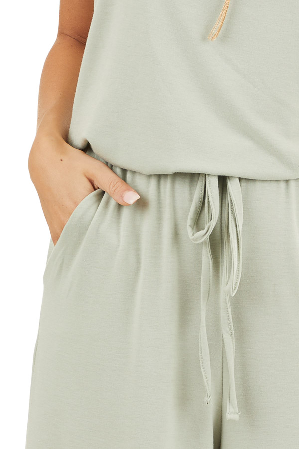 Light Sage Sleeveless Knit Jumpsuit with Side Pockets detail