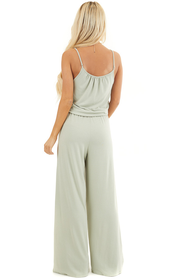 Light Sage Sleeveless Knit Jumpsuit with Side Pockets back full body
