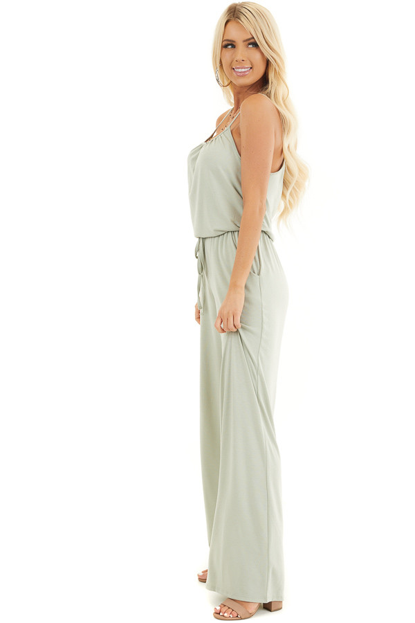 Light Sage Sleeveless Knit Jumpsuit with Side Pockets side full body