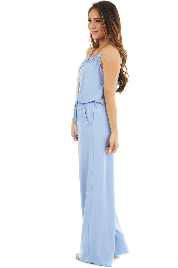 Dusty Blue Sleeveless Knit Jumpsuit with Side Pockets side full body