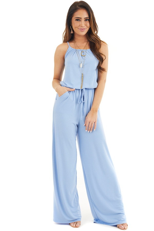 Dusty Blue Sleeveless Knit Jumpsuit with Side Pockets front full body