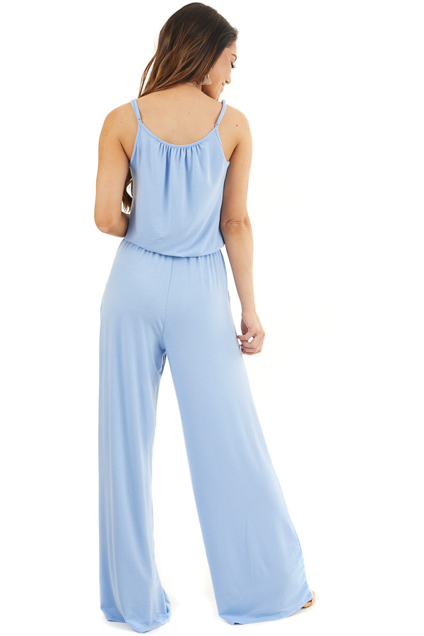 Dusty Blue Sleeveless Knit Jumpsuit with Side Pockets back full body