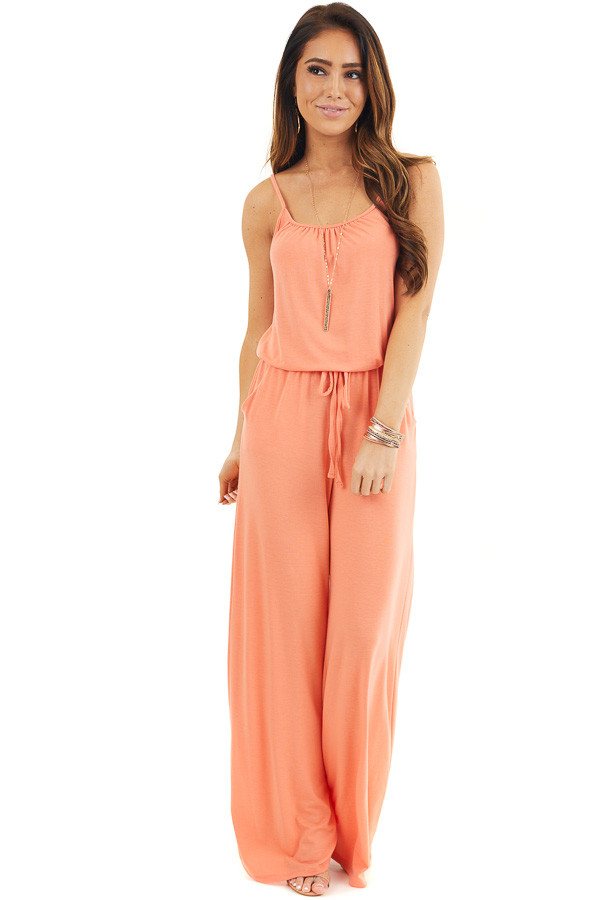 Coral Sleeveless Knit Jumpsuit with Side Pockets front full body
