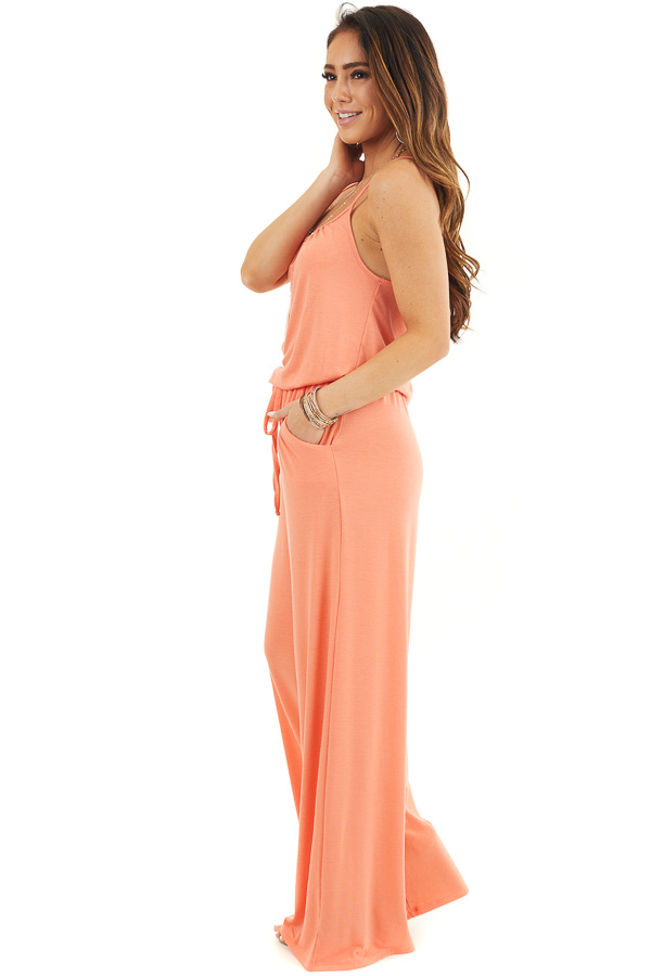 Coral Sleeveless Knit Jumpsuit with Side Pockets side full body