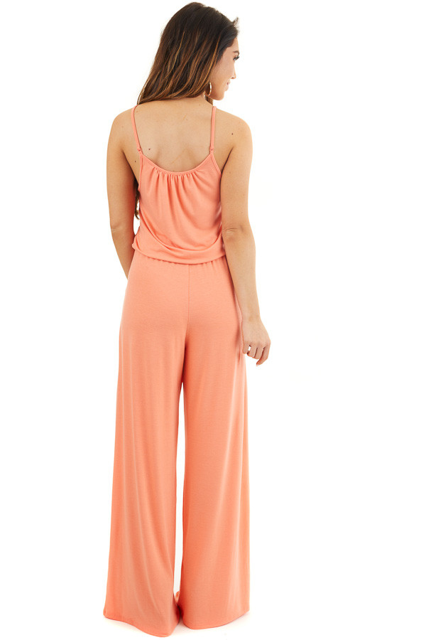 Coral Sleeveless Knit Jumpsuit with Side Pockets back full body