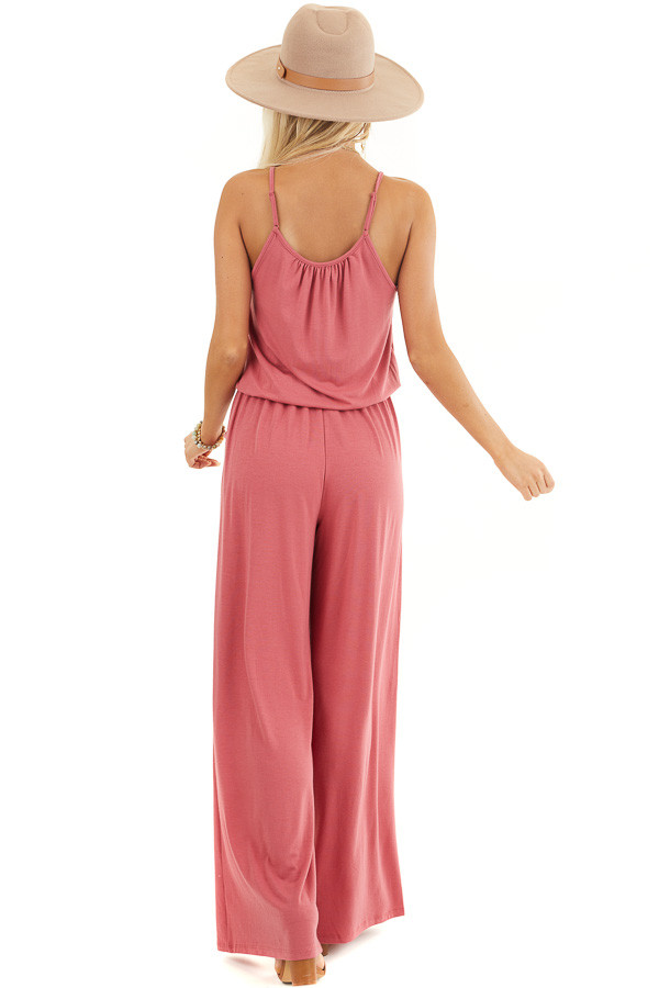 Deep Rose Sleeveless Knit Jumpsuit with Side Pockets back full body