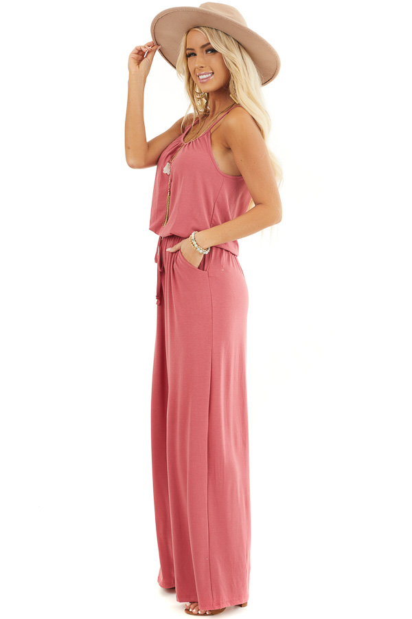 Deep Rose Sleeveless Knit Jumpsuit with Side Pockets side full body
