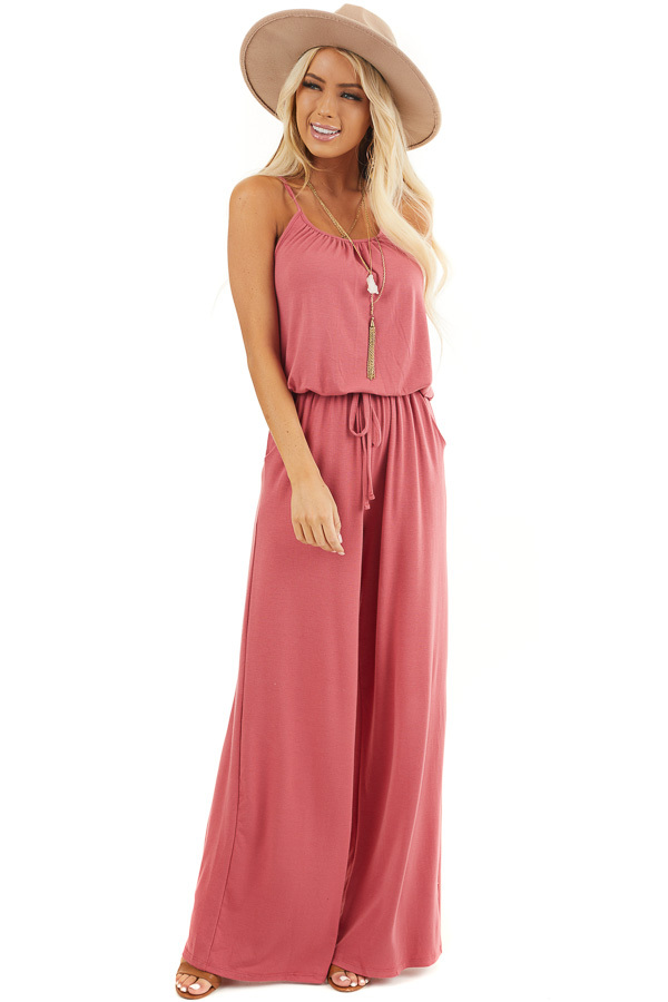 Deep Rose Sleeveless Knit Jumpsuit with Side Pockets front full body