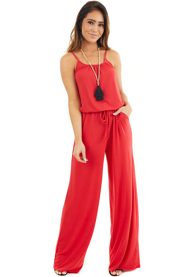 Ruby Red Sleeveless Knit Jumpsuit with Side Pockets front full body