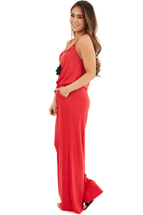 Ruby Red Sleeveless Knit Jumpsuit with Side Pockets side full body