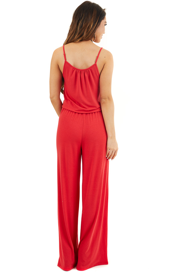 Ruby Red Sleeveless Knit Jumpsuit with Side Pockets back full body