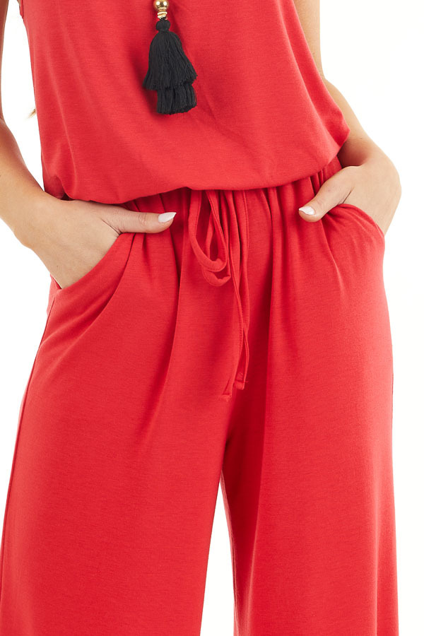 Ruby Red Sleeveless Knit Jumpsuit with Side Pockets detail