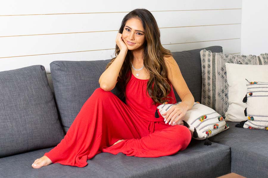 Ruby Red Sleeveless Knit Jumpsuit with Side Pockets