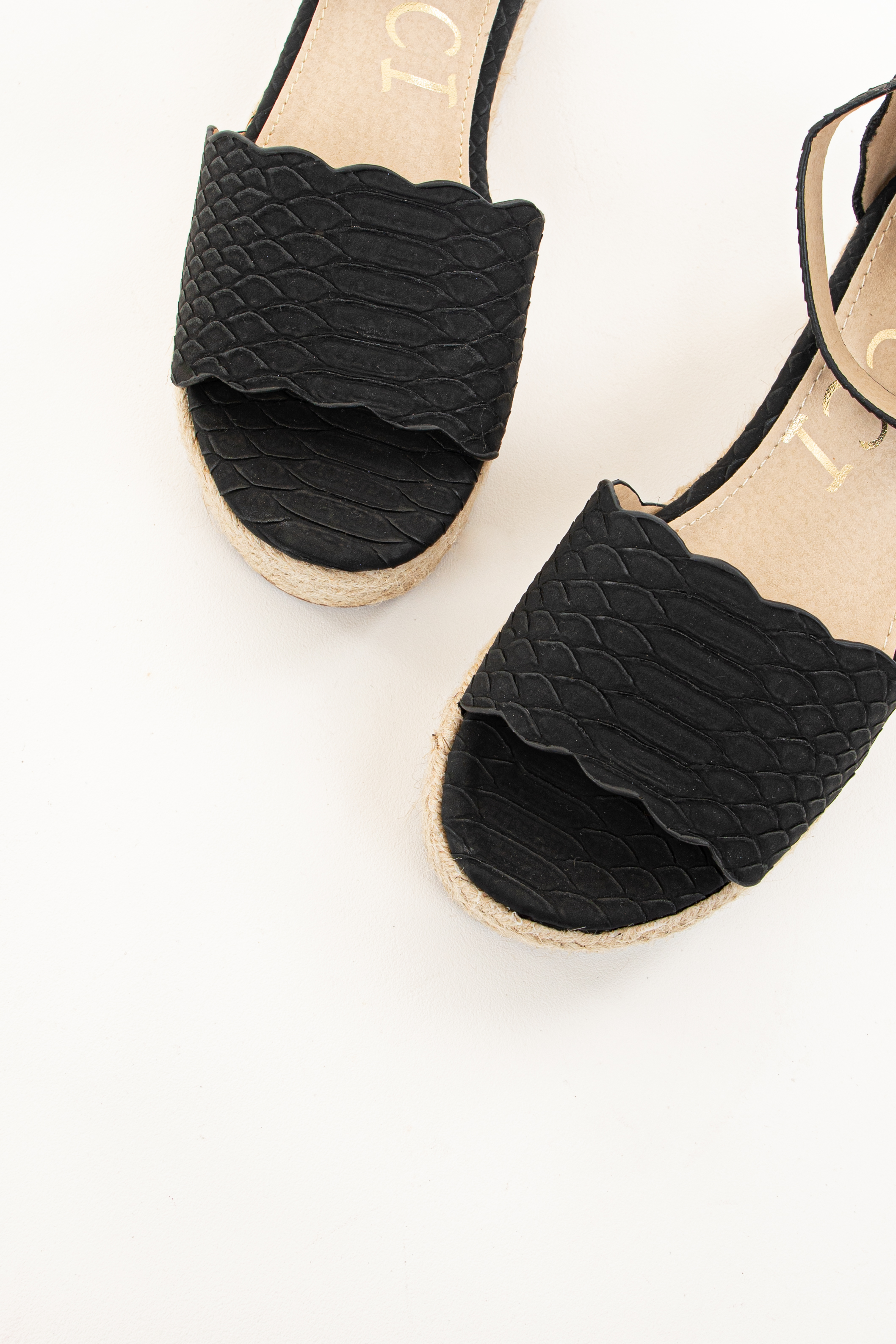Black Textured Snake Print Espadrille Wedge Sandals