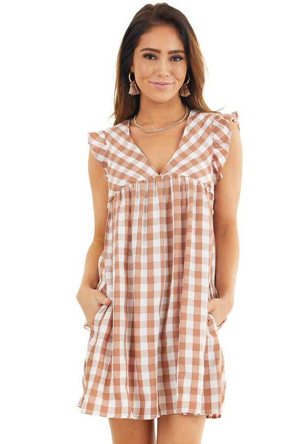 Latte and Pure White Gingham Print Babydoll Mini Dress front close up