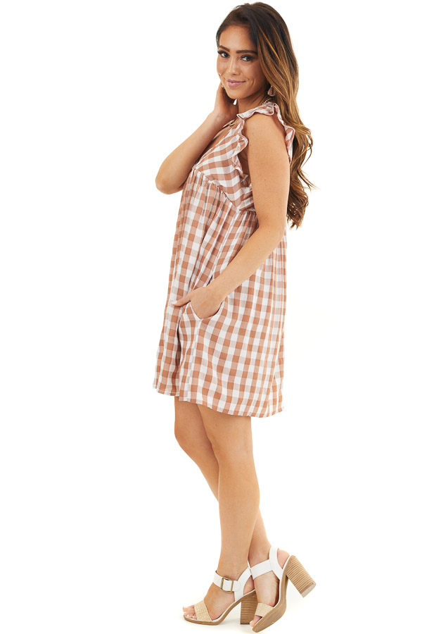 Latte and Pure White Gingham Print Babydoll Mini Dress side full body