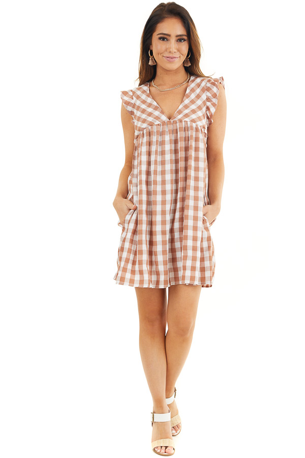 Latte and Pure White Gingham Print Babydoll Mini Dress front full body