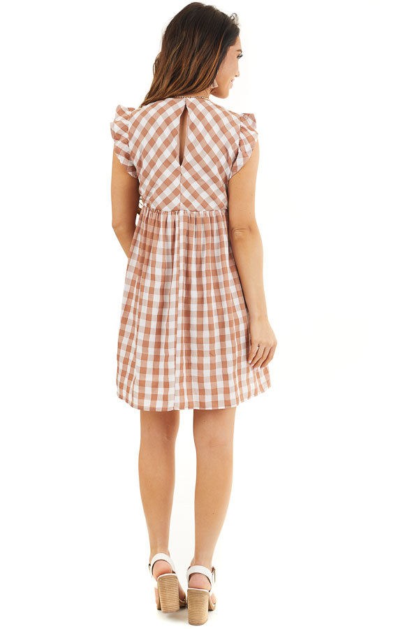 Latte and Pure White Gingham Print Babydoll Mini Dress back full body