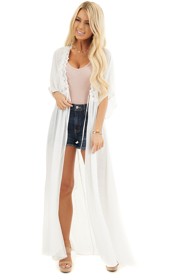 White Short Sleeve Kimono with Lace Trim and Tassel Tie front full body