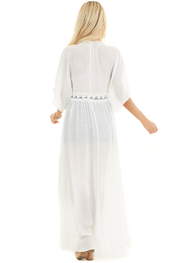 White Short Sleeve Kimono with Lace Trim and Tassel Tie back full body
