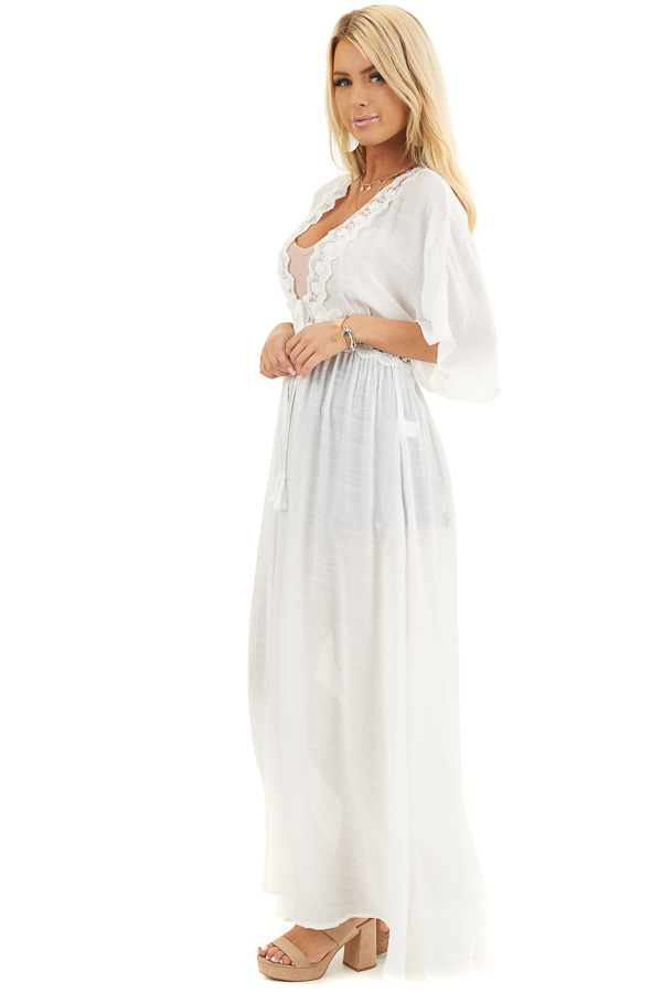 White Short Sleeve Kimono with Lace Trim and Tassel Tie side full body