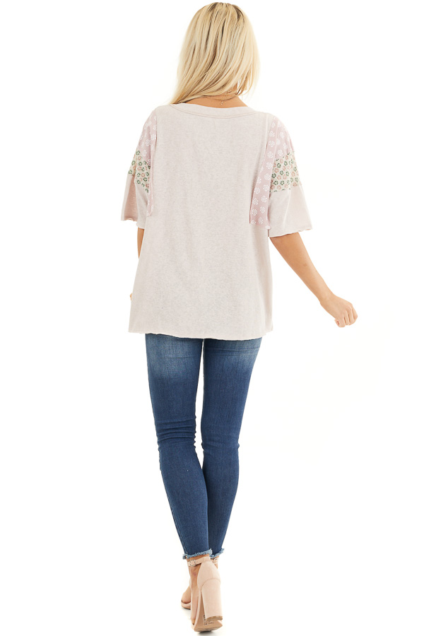 Dusty Blush Knit Tee Shirt with Multiprint Contrast Sleeves back full body