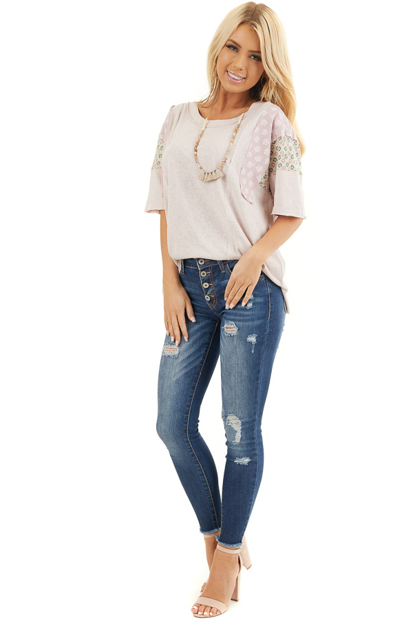 Dusty Blush Knit Tee Shirt with Multiprint Contrast Sleeves front full body