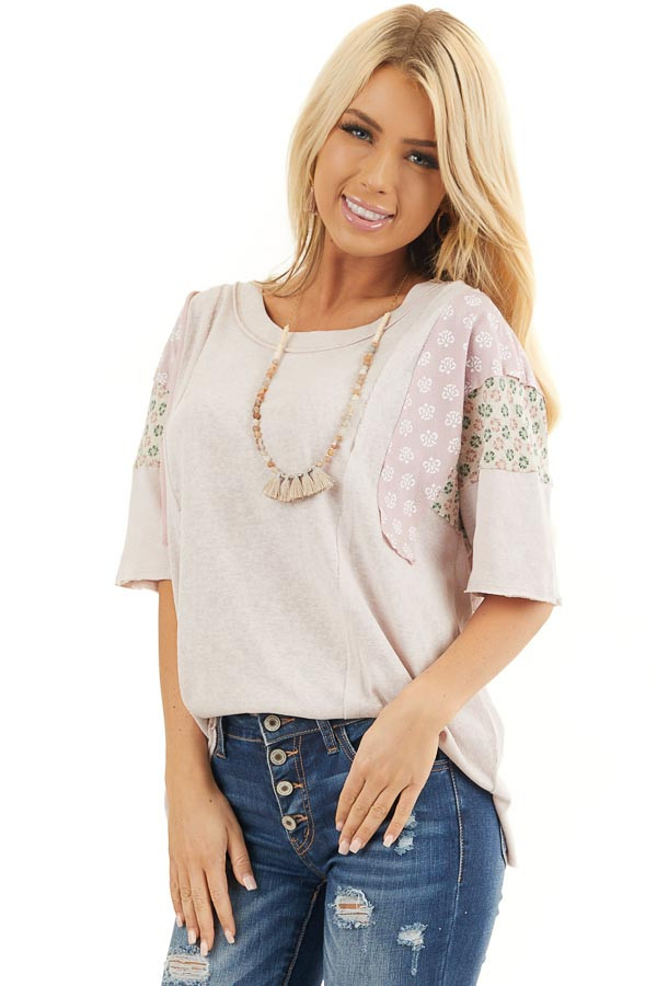 Dusty Blush Knit Tee Shirt with Multiprint Contrast Sleeves front close up