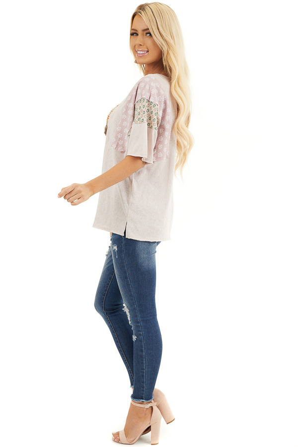 Dusty Blush Knit Tee Shirt with Multiprint Contrast Sleeves side full body