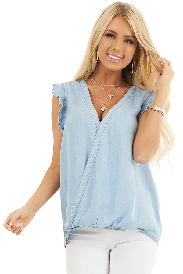 Light Denim Chambray Woven Blouse with Short Ruffle Sleeves front close up