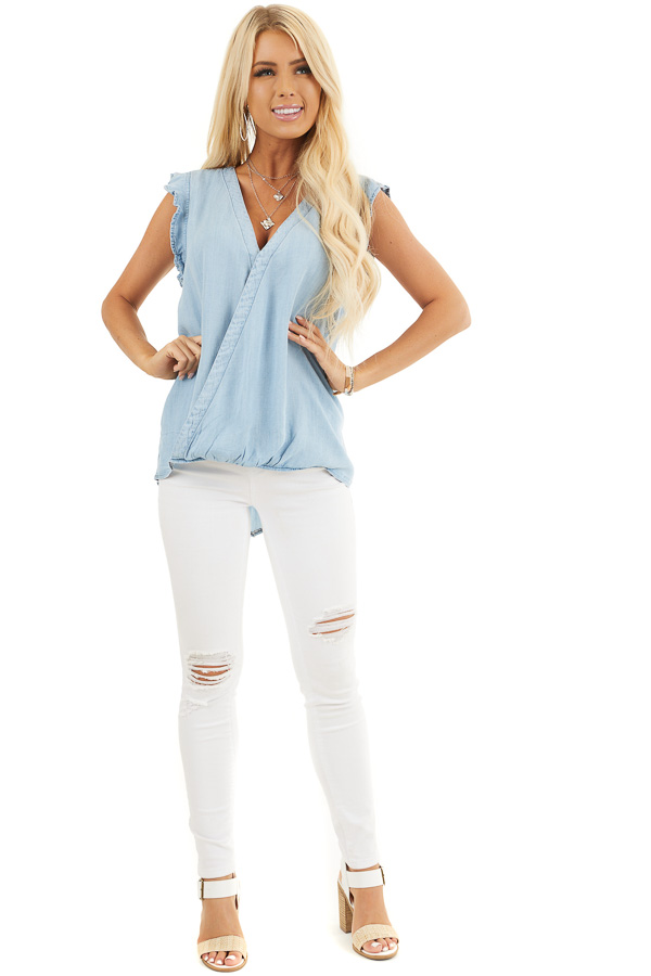 Light Denim Chambray Woven Blouse with Short Ruffle Sleeves front full body