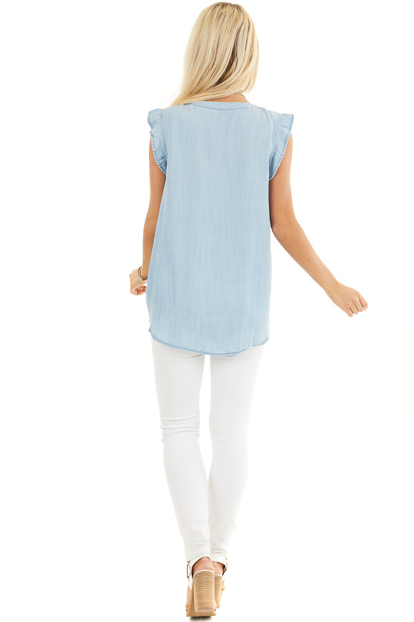 Light Denim Chambray Woven Blouse with Short Ruffle Sleeves back full body