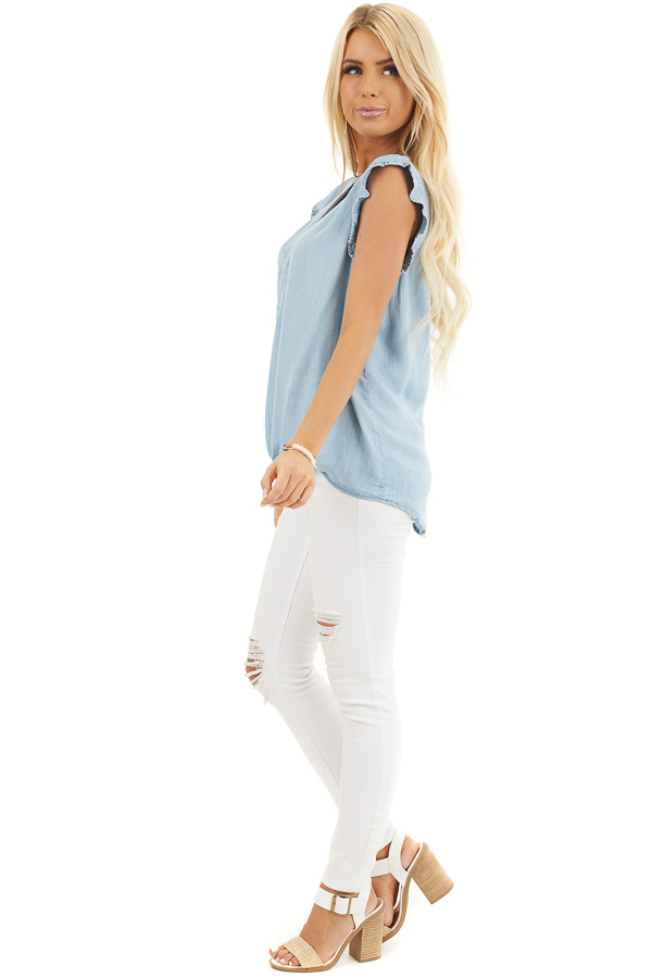 Light Denim Chambray Woven Blouse with Short Ruffle Sleeves side full body