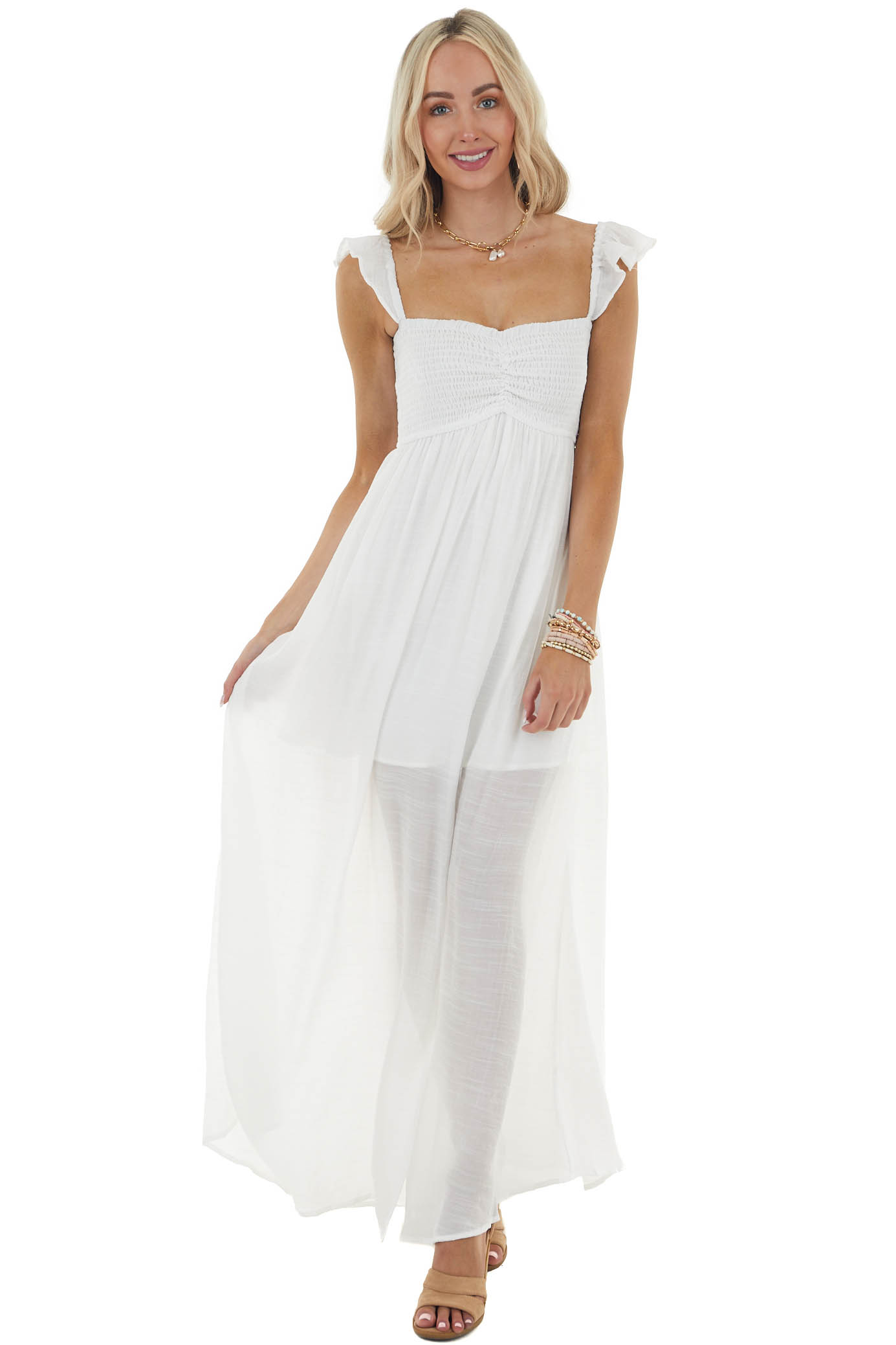 White Smocked Maxi Dress with Side Slit and Cap Sleeves