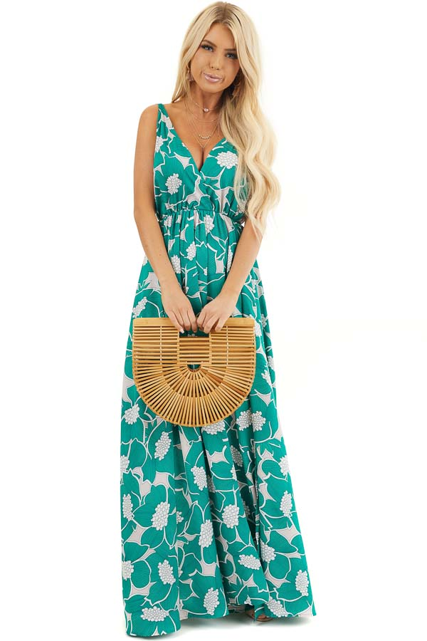 Jungle Green Floral Sleeveless Maxi Dress with Side Slit front full body