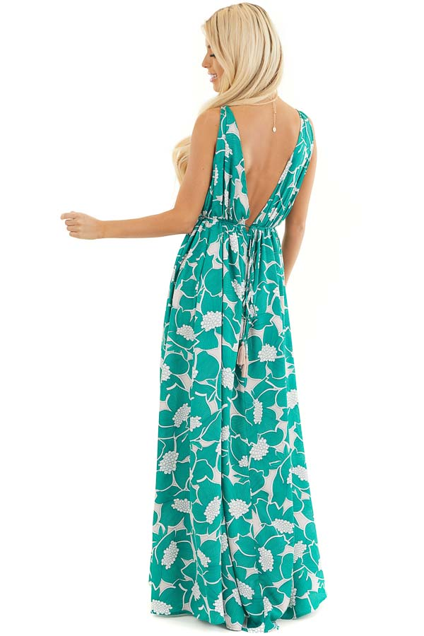 Jungle Green Floral Sleeveless Maxi Dress with Side Slit back full body