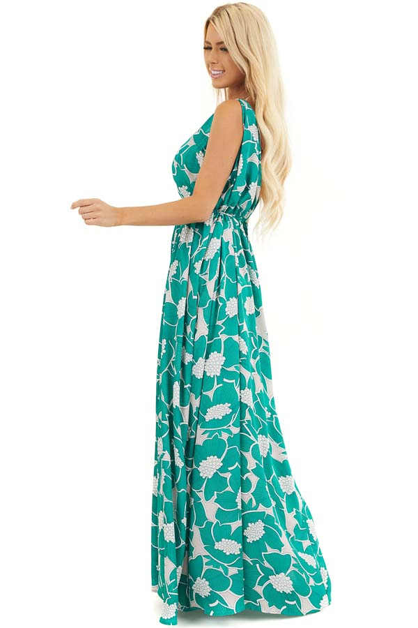 Jungle Green Floral Sleeveless Maxi Dress with Side Slit side full body