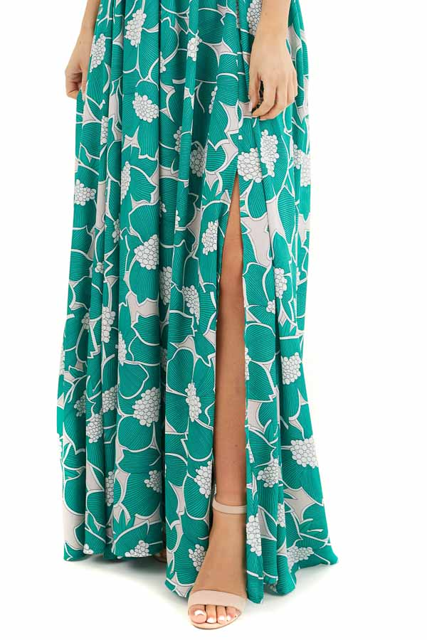 Jungle Green Floral Sleeveless Maxi Dress with Side Slit detail