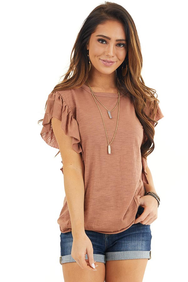 Cognac Knit Top with Short Sleeve and Ruffle Details front close up